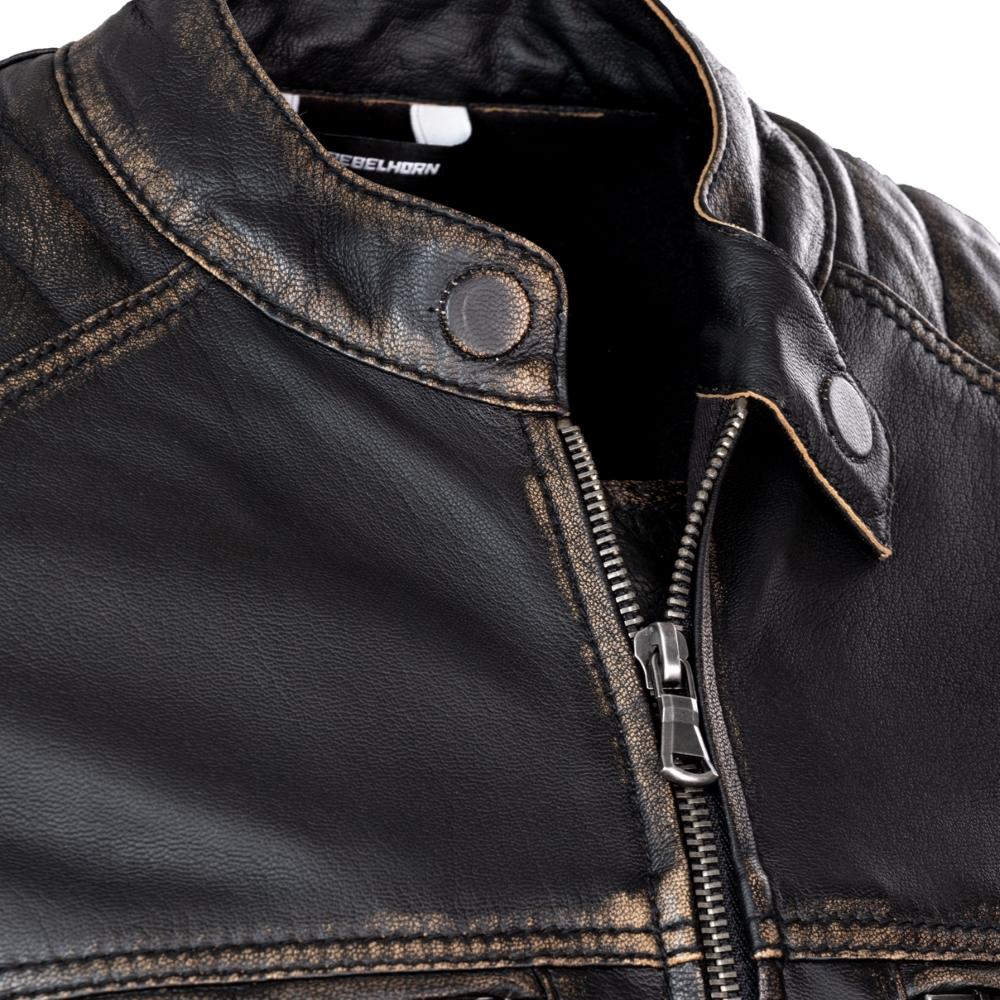 5e1d7349d Kožená moto bunda Rebelhorn Hunter Pro CE - Vintage Black. Plně  certifikovaná ...
