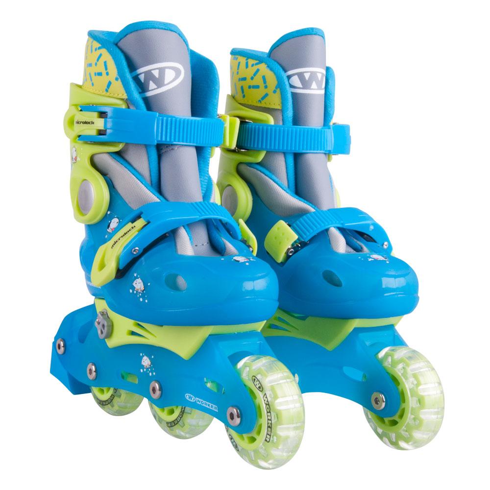 b68bca65cc5 Dětské kolečkové brusle WORKER TriGo Skate LED - se sv. kolečky - růžová.  Praktické nastavitelné ...