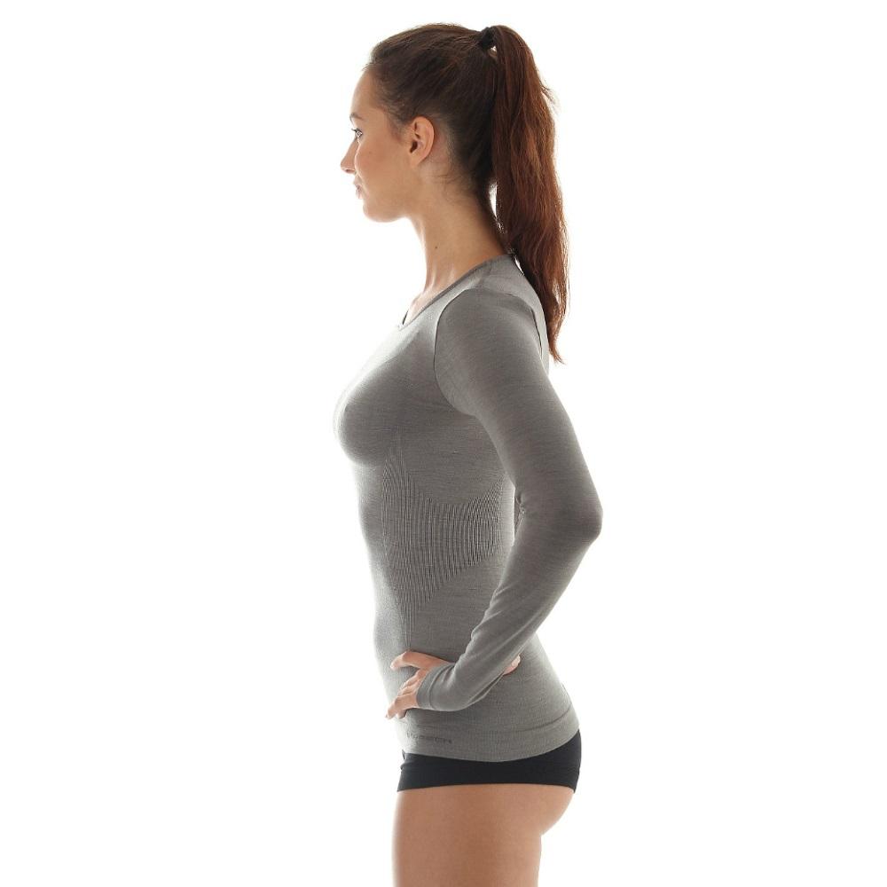 Dámské tričko Brubeck - vlna dlouhý rukáv - šedá. Dámské ... 27cec0aa92