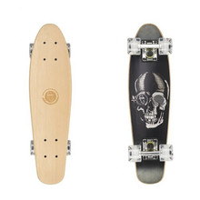 "Dřevený penny board Fish Classic Wood 22"" - Black Skull-Silver-Transparent White"