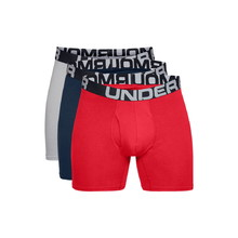 Pánské boxerky Under Armour Charged Cotton 6in 3 páry - Red