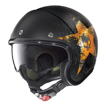 Moto helma Nolan N21 Star Skull - Flat Black-Orange