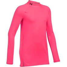 Dívčí triko Under Armour ColdGear Mock - PENTA PINK / PENTA PINK / BLACK