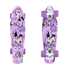 "Penny board Fish Print 22"" - Dogs-White-Summer Purple"
