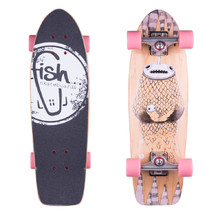 "Mini longboard Fish Old School Cruiser Narwhal 26"" - Silver-Summer Pink"