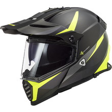 Moto přilba LS2 MX436 Pioneer Evo - Router Matt Black H-V Yellow