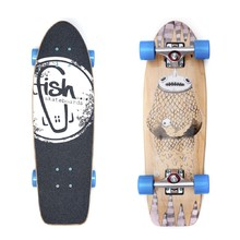 "Mini longboard Fish Old School Cruiser Narwhal 26"" - Silver-Blue"