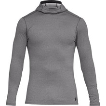 Pánské triko Under Armour Fitted CG Hoodie - Charcoal Light Heather/Black