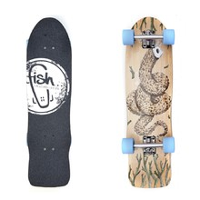 "Mini longboard Fish Old School Cruiser Seadragon 32"" - Silver-Blue"
