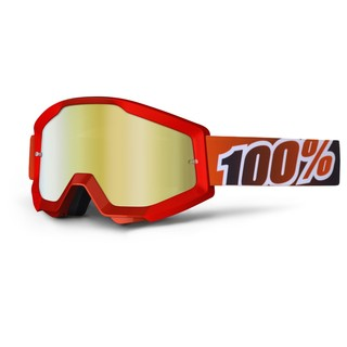 Motokrosové brýle 100% Strata Fire Red červená, červené chrom plexi s čepy pro slídy