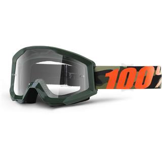 Motokrosové brýle 100% Strata Huntitistan tmavě zelená, čiré plexi s čepy pro slídy