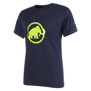 Pánské sportovní tričko MAMMUT Logo - krátký rukáv tmavě modrá se zeleným logem - L