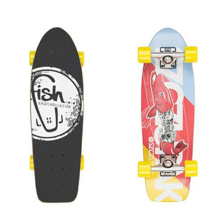 "Mini longboard Fish Old School Cruiser Szczupak 26"" Silver-Yellow"