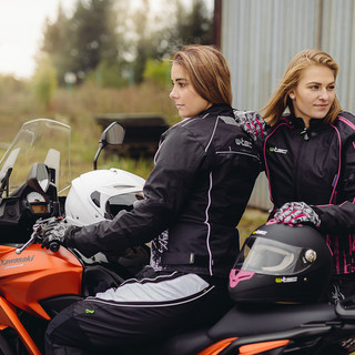Dámské kožené moto rukavice W-TEC Malvenda NF-4208 - černá s růžovou grafikou