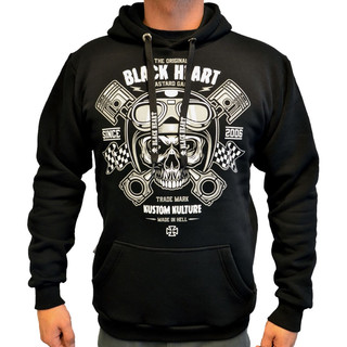 Mikina BLACK HEART Piston Skull Hood černá - XXL