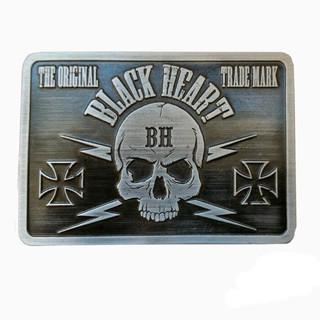 Přezka na opasek BLACK HEART Bastard Skull Buckle stříbrná