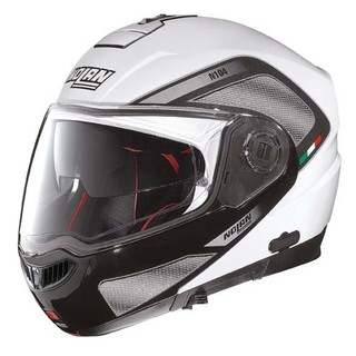 Moto helma Nolan N104 Absolute Tech N-Com - Metal White