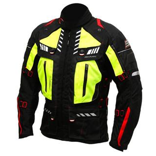 Pánská textilní moto bunda Spark Expedition černá-fluo žlutá - S