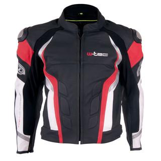 Pánská kožená moto bunda W-TEC Velocity černo-červená - 4XL