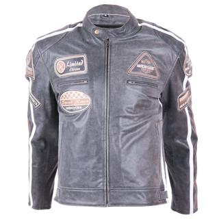 Kožená moto bunda BOS 2058 Vintage Grey šedá - 5XL