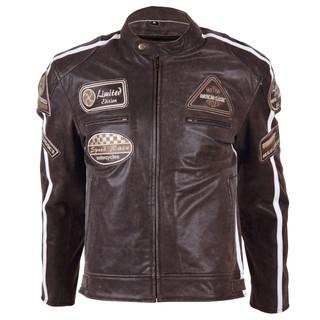Kožená moto bunda BOS 2058 Maroon tmavě hnědá - M