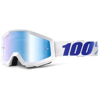 Motokrosové brýle 100% Strata Equinox bílá, modré chrom plexi s čepy pro slídy