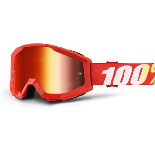 Motokrosové brýle 100% Strata Furnace červená, červené chrom plexi s čepy pro slídy