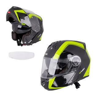 Výklopná moto helma W-TEC V270 PP černo-zelená - XL (61-62)