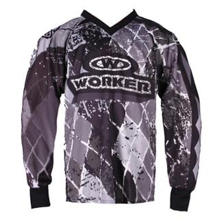 Motokrosový dres WORKER T-Junior šedé káro - Junior XL (11 - 12 let)