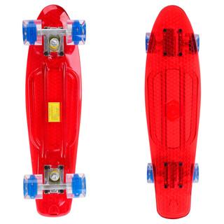 Penny board Maronad Retro Transparent se svítícími kolečky červená