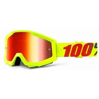 Motokrosové brýle 100% Strata Mercury fluo žlutá, červené chrom plexi s čepy pro slídy