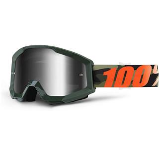 Motokrosové brýle 100% Strata Chrome Huntitistan tmavě zelená, stříbrné chrom plexi s čepy pro slídy