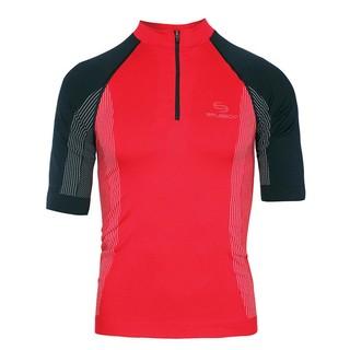 Pánské termo triko Brubeck FIT s krátkým rukávem červeno-černá - S