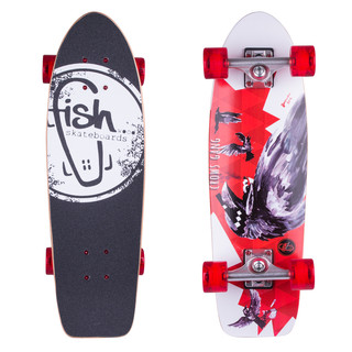 "Mini longboard Fish Old School Cruiser Crow 26"" Silver-Transparent Red"