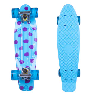 "Penny board Fish Print DOTS 22"" - silver-transparent-blue"
