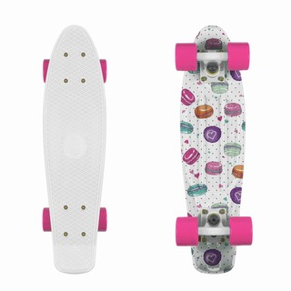 "Penny board Fish Print 22"" Macarons-White-Pink"