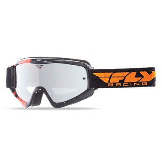 Motokrosové brýle Fly Racing RS Zone černé/oranžové, zrcadlové plexi s čepy pro slídy