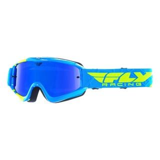Motokrosové brýle Fly Racing RS Zone modré/žluté fluo, zrcadlové/modré plexi s čepy pro slídy