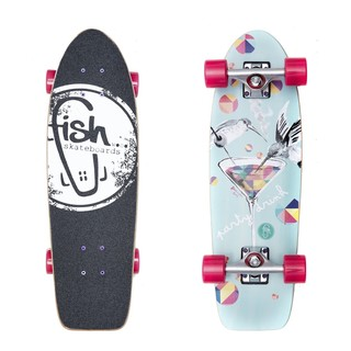 "Mini longboard Fish Old School Cruiser Party 26"" Silver-Magenta"