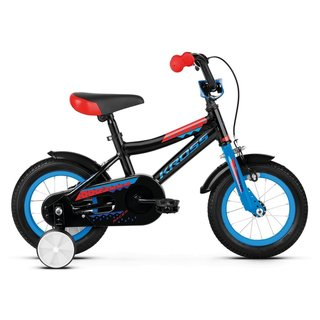 "Dětské kolo Kross Racer 2.0 12"" - model 2019 - Black / Blue / Red Glossy"