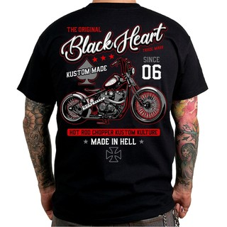 Triko BLACK HEART Red Chopper černá - XL