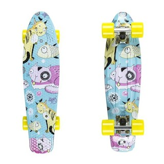 "Penny board Fish Print 22"" Silver-Yellow Cats"