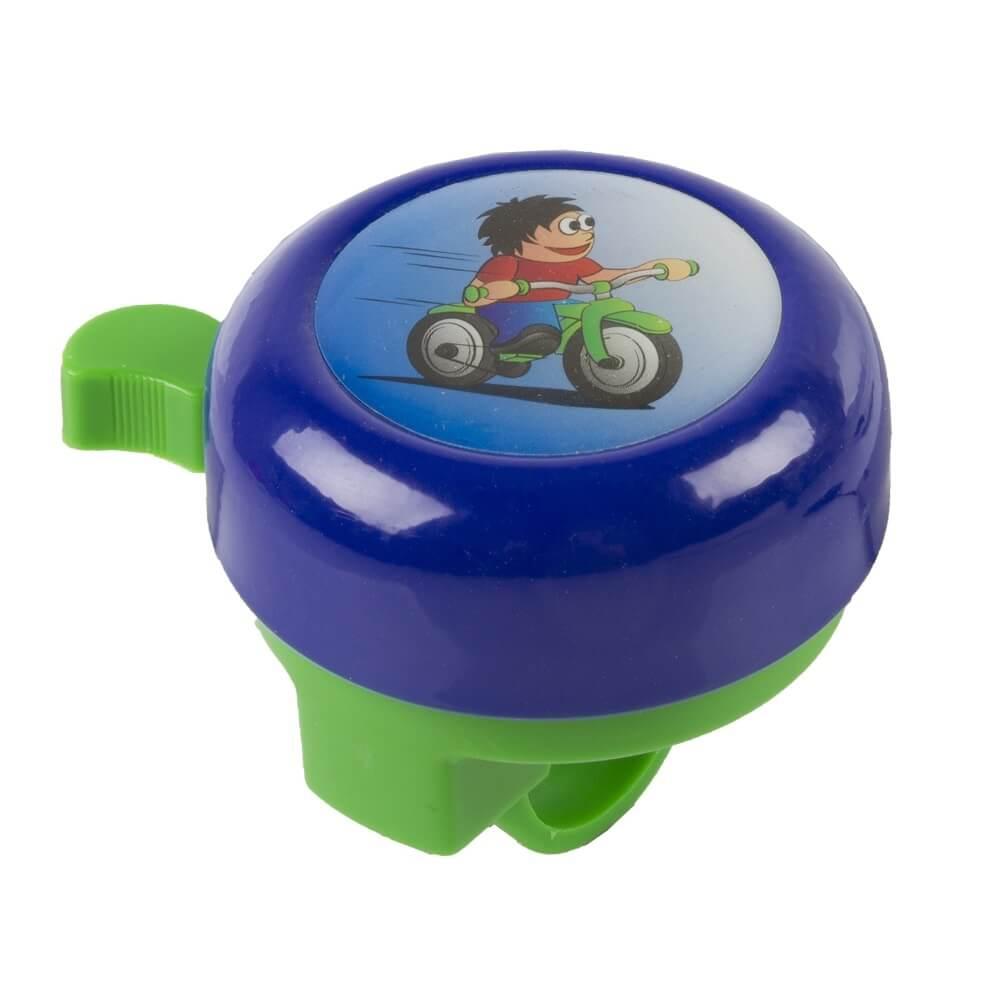 Dětský zvonek M-Wave 3D modrá s cyklistou