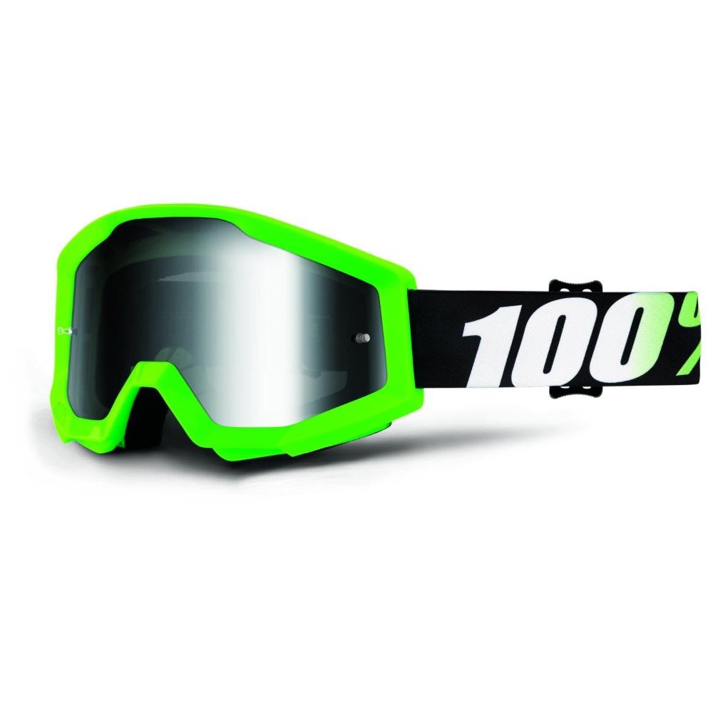 Motokrosové brýle 100% Strata Chrome Arkon světle zelená, čiré plexi s čepy pro slídy