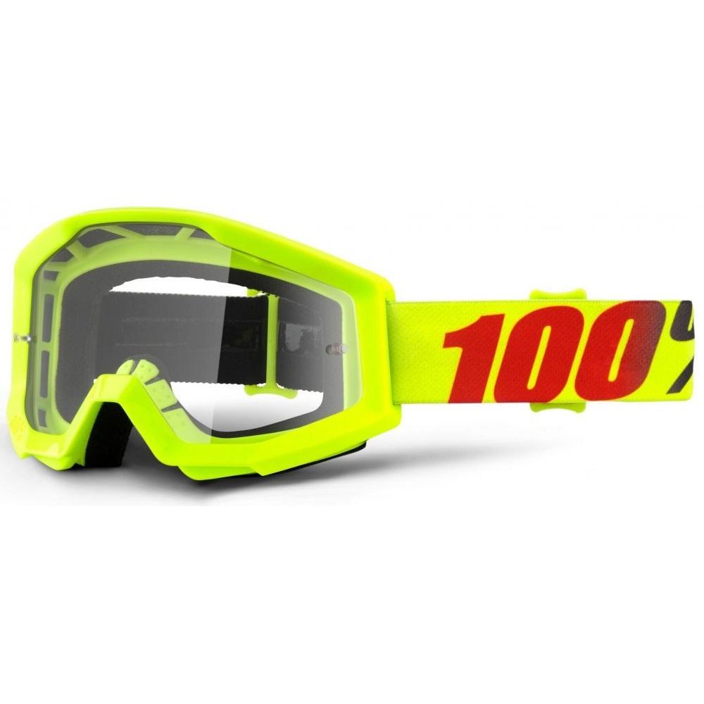 Motokrosové brýle 100% Strata Mercury fluo žlutá, čiré plexi s čepy pro slídy