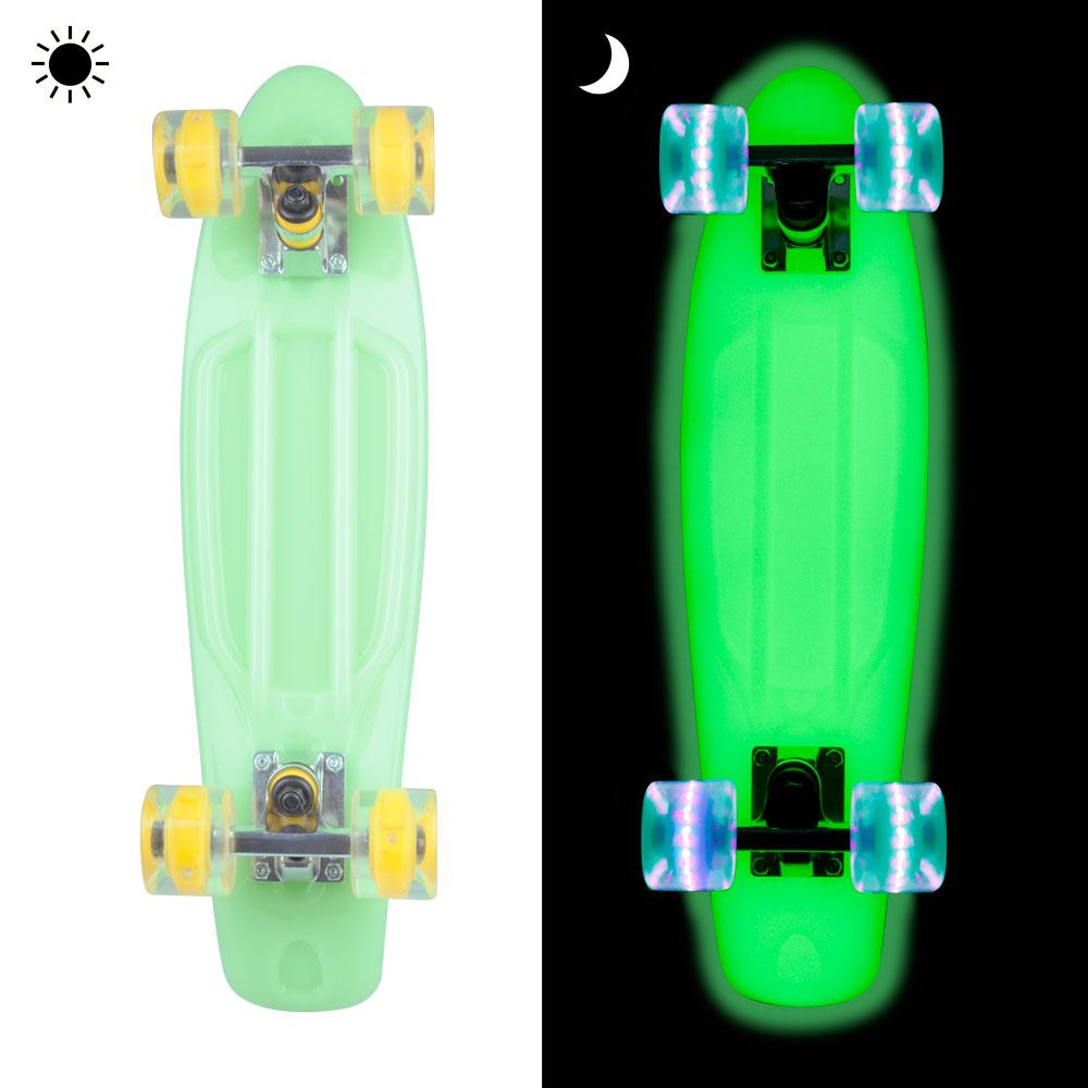 """Svítící penny board WORKER Lumy 22"""" zelená"""