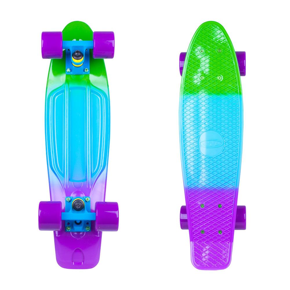 """Penny board WORKER Sunbow 22"""" zeleno-modro-fialová"""