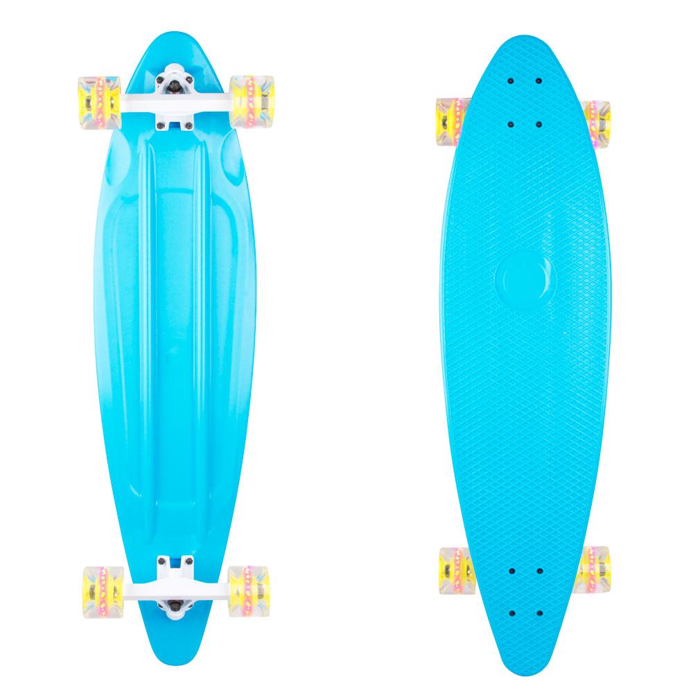"""Plastový longboard WORKER Pike 36"""" se svítícími kolečky modrá"""