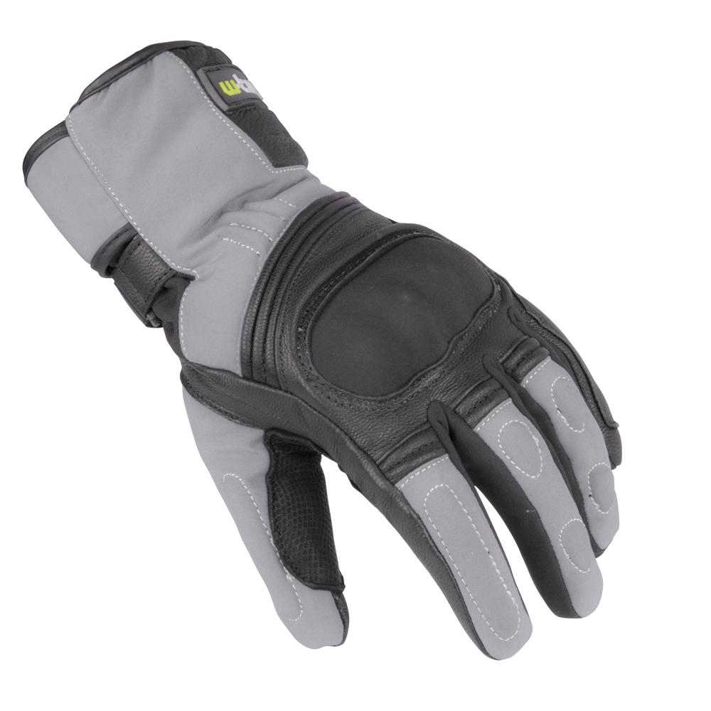 Zimní kožené/textilní moto rukavice W-TEC NF-4004 šedo-černá - M