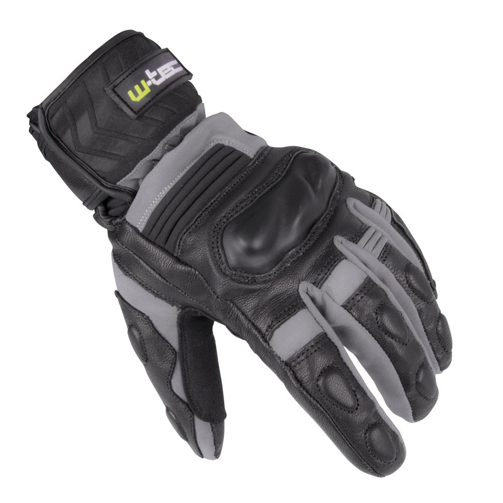 Zimní kožené/textilní moto rukavice W-TEC NF-4070 šedo-černá - S